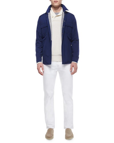Shawl-Collar Pullover Sweater, Windstorm Stretch Shirt & Five-Pocket Denim Jeans