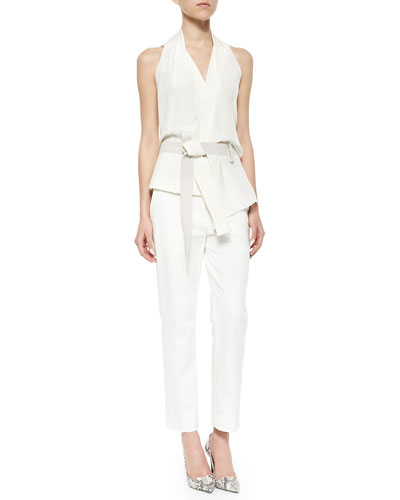 Draped Crisscross-Back Judo Belt Top & Classic Pencil Pants