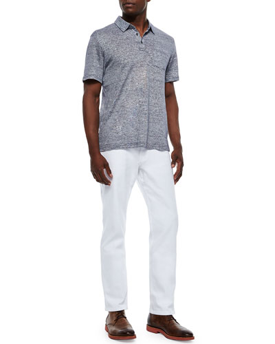Michael Kors Fine-Stripe Short-Sleeve Polo & Tailored-Fit Jeans