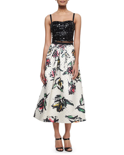 Sweetheart Neck Beaded Crop Top & Floral-Print Jacquard Tea-Length Skirt