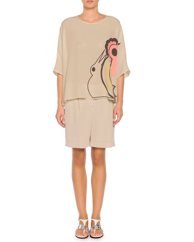 Abstract Parrot-Print Oversized Tunic & Pleated Relaxed Silk Shorts, Taupe