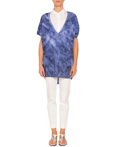 Short-Sleeve Tie-Dye Sweater, Short-Sleeve Pleated-Back Poplin Blouse & Kim Flat-Front Ankle Pants