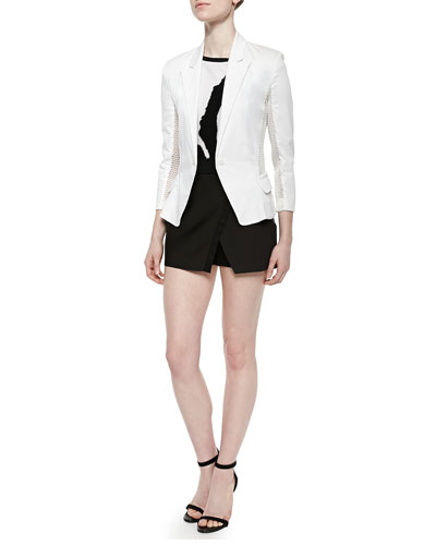 Spring Perforated-Panel Twill Jacket, Boat-Neck Cap-Sleeve Top & Two-Tone Crossover Shorts