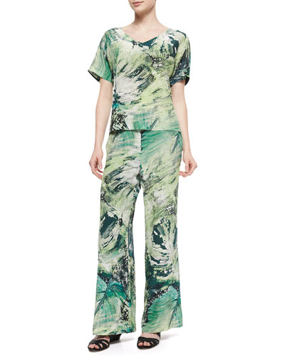 V-Neck Printed Tunic Top & Printed Silk Relaxed Pants