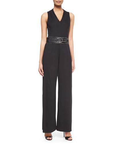 Sleeveless Wide-Leg Jumpsuit & Wide Leather Belt W/ Contrast Trim