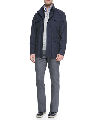 Elements Trofeo Wool Safari Jacket, Cashmere Zigzag Quarter-Zip Sweater, Micro-Gingham Check Sport Shirt & Stretch Denim Slim-Fit Pants