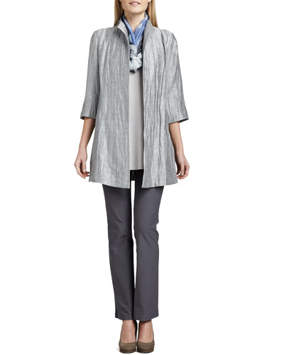 Washable Crinkle Sheen Jacket, Washable Slim Boot-Cut Pants, Jersey Tank & Silk Shibori Scarf, Plus Size