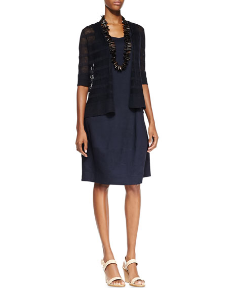 Eileen FisherSleeveless Linen-Stretch Lantern Dress, Navy, Plus