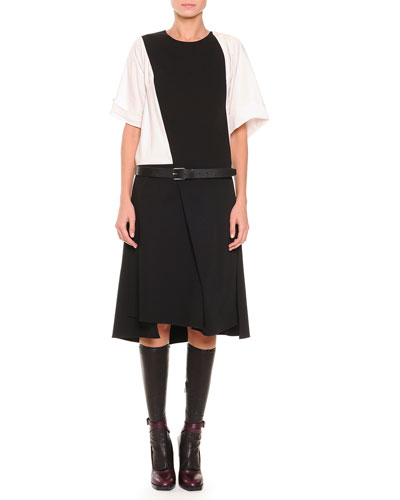 Short-Sleeve Asymmetric Flap Dress & Pebbled Leather Belt