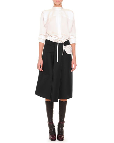 Slit-Back Drawstring Blouse & Slit Draped A-Line Skirt