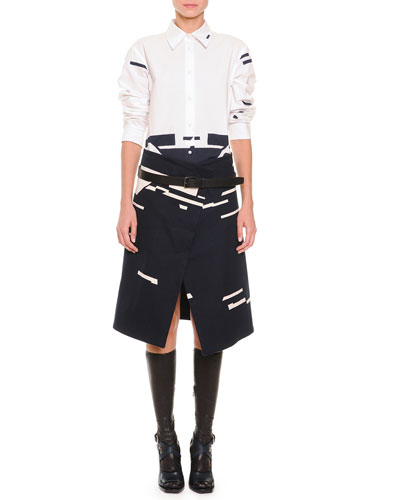 Broken Stripe-Print Button Blouse, Broken Stripe-Print Asymmetric Skirt & Clean Line Leather Belt