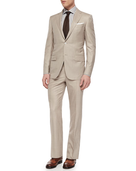 Ermenegildo Zegna Trofeo Wool/Silk Solid Two-Piece Suit, Tan