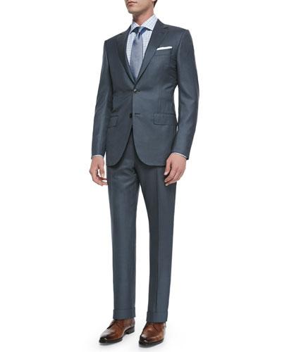 Ermenegildo Zegna Two-Piece Wool/Silk Pindot Suit, Box Plaid