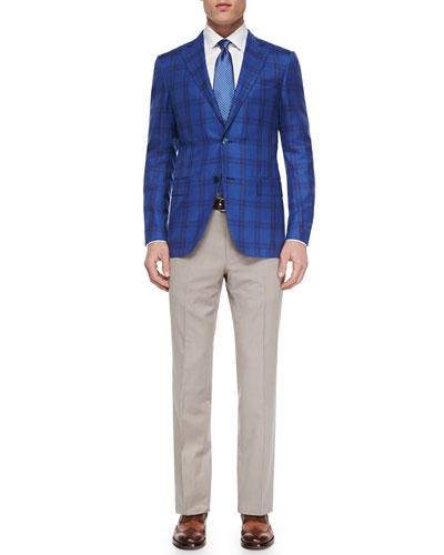 Woven Cashmere-Blend Plaid Blazer, Woven Poplin Dress Shirt & Trofeo Comfort Trousers