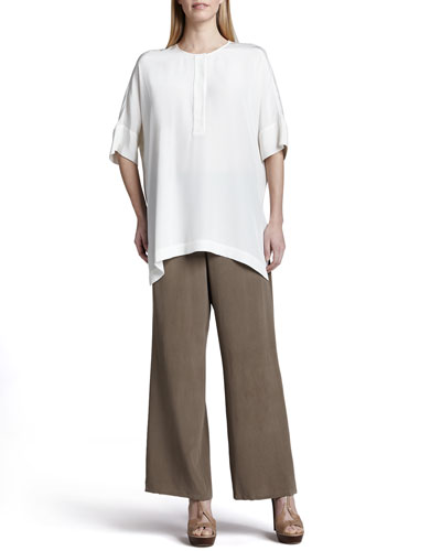 Silk Dolman-Sleeve Tunic & Pants, Petite