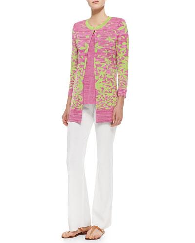 Multileaf Long Jacket, Melange Knit Tank & Boot-Cut Knit Pants