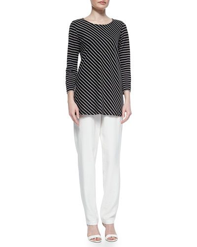 Bias-Striped Knit Tunic & Cabo Crinkle Straight-Leg Pants, Petite