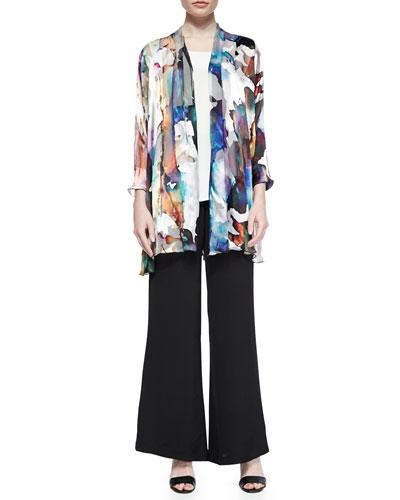 Hand-Painted Silk-Blend Devore Cardigan, Long Silk Crepe Tank & Silk Crepe Wide-Leg Pants, Petite