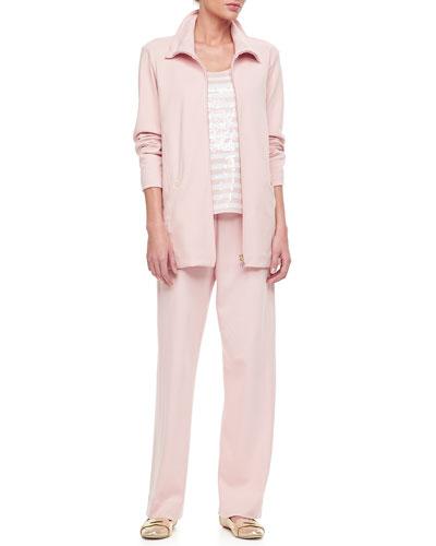 Long Sleeve Jog Jacket, Sequin Stripe Tank & Cotton Interlock Pants, Petite