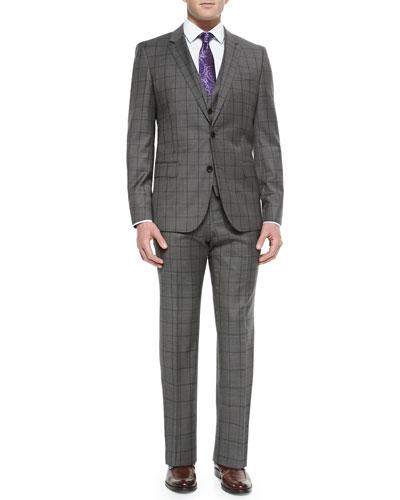 Three-Piece Windowpane Suit, Dress Shirt & Tie