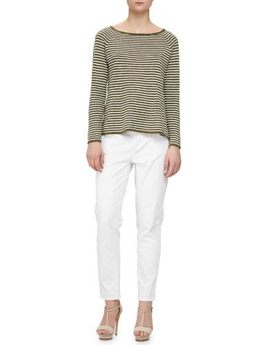 Striped Slub A-line Top & Stretch Boyfriend Jeans