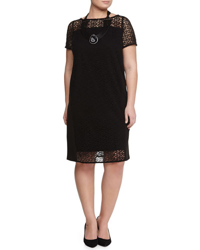 Doratura Short-Sleeve Macrame Sheath Dress & Lumia Agate Necklace, Women