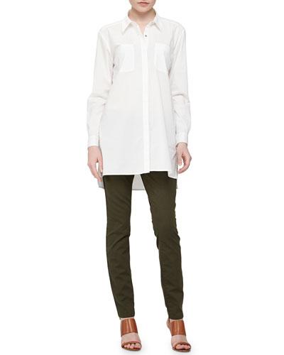 Long Long-Sleeve Shirt & Stretchy Jean Leggings