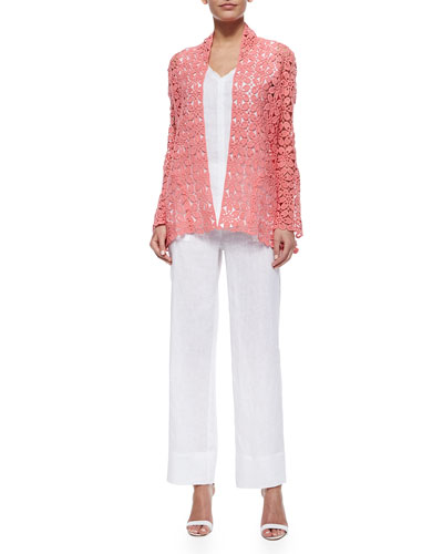 Crochet Topper Jacket, Silicon Washed Linen Tank Top & Silicon Washed Linen Pants