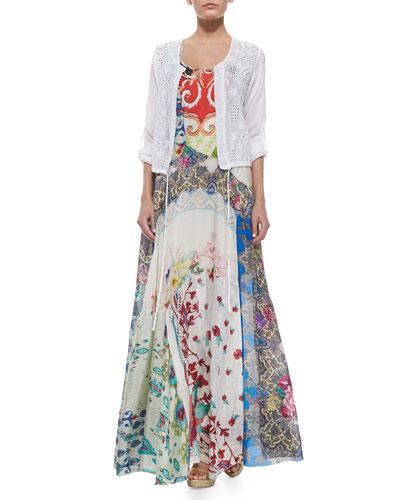Cropped Eyelet Drawstring Jacket & Sleeveless Garden-Print Maxi Dress
