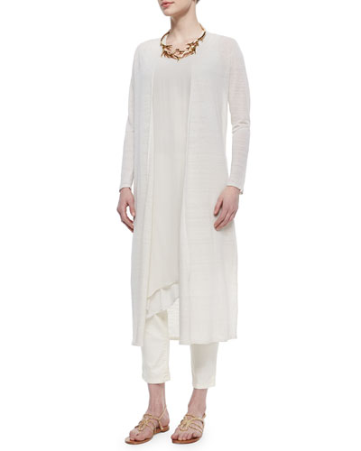 Washable Linen Crepe Maxi Cardigan, Sleeveless Asymmetric Knee-Length Dress & Slim Stretch Ankle Jeans