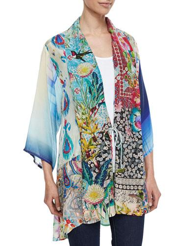 Mixed-Print Tie-Front Silk Kimono & Scoop-Neck Cotton Tank, Women's
