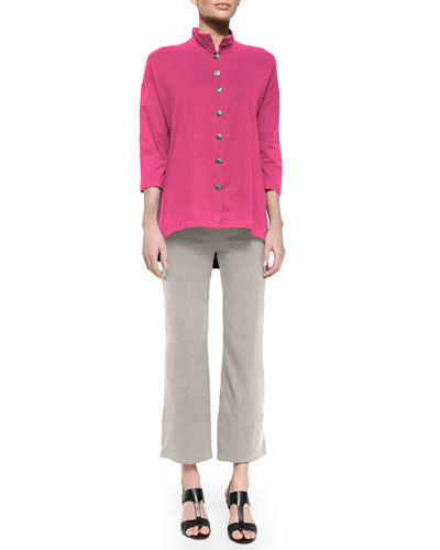 Inspiration Button-Front Top & Jersey Ankle Pants