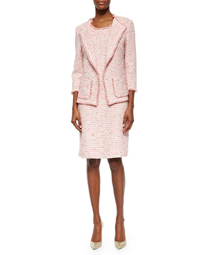 Boucle 3/4-Sleeve Jacket & Sleeveless Boucle Sheath Dress