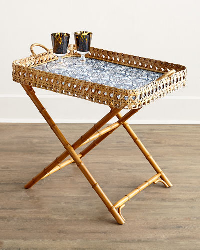 Caned Tile Print Tray & Stand