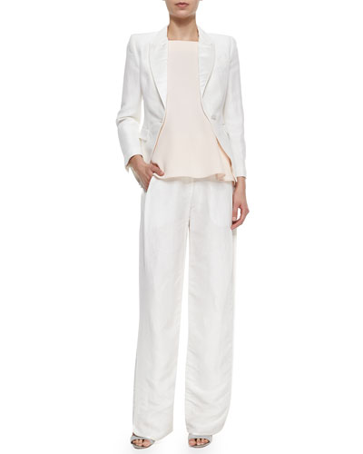Peaked-Lapel Cropped Blazer, Square-Neck Flutter Camisole & Side-Pleated Wide-Leg Trousers