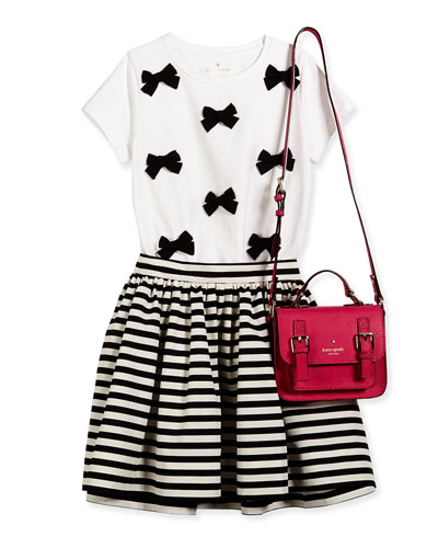bow embellished tee, striped skirt, and crossbody bag