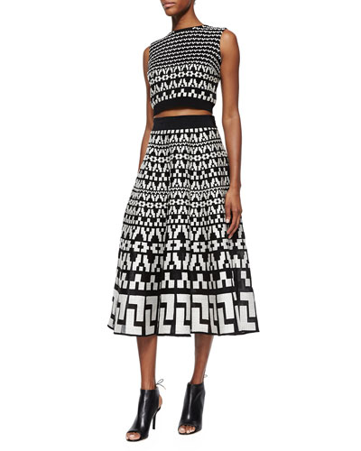 Geometric-Pattern Crop Top & Geometric-Pattern Full Midi Skirt