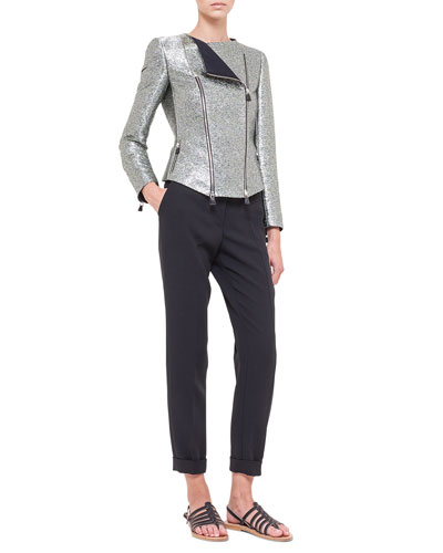 Metallic Double-Zip Moto Jacket & Melissa Slim-Fit Techno Pants