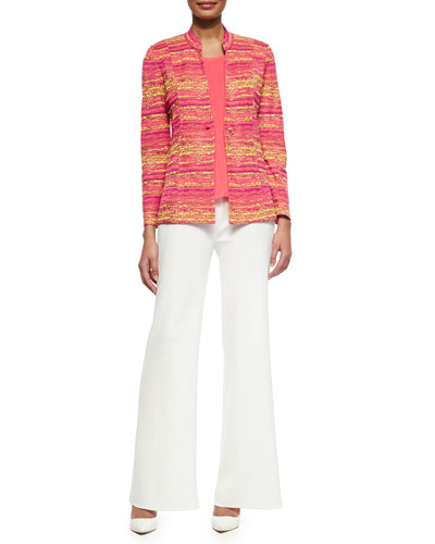 Horizontal Melange One-Button Jacket,  Scoop-Neck Knit Tank & Washable Wide-Leg Pants, Petite