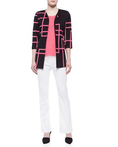 Street Lines 3/4-Sleeve Jacket, Sleeveless Long Tank & Boot-Cut Knit Pants