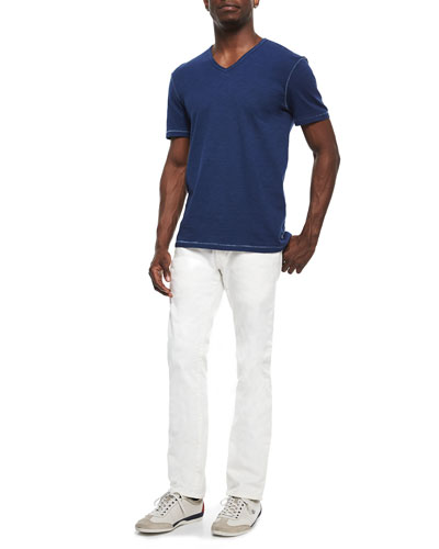 Slub Knit V-Neck Tee & Bowery Slim-Fit Straight Jeans