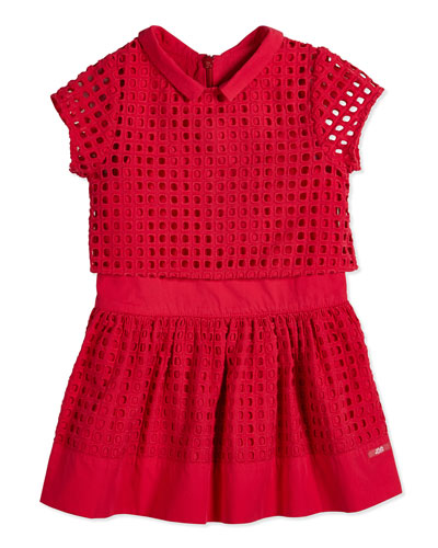 Eyelet Dress w/ Cropped Jacket, Bright Pink