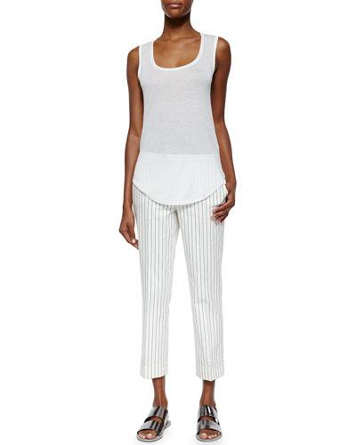 Sweetheart Jersey Knit Tank Top & Cropped Flared Pinstripe Pants