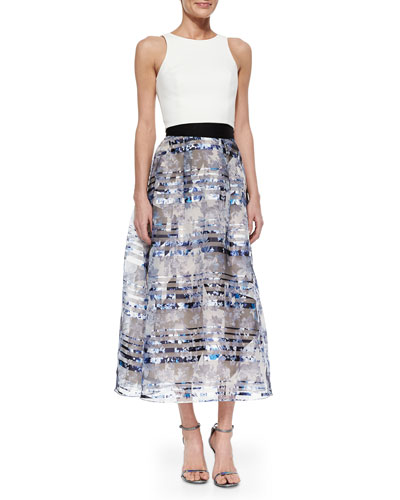 Back-Cutout Crop Top & Floral Organza Ball Skirt