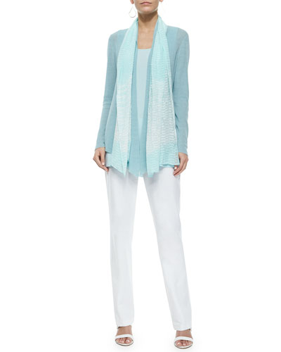 Long Angled Linen-Blend Cardigan, Ripples Scarf, Tunic & Washable-Crepe Boot-Cut Pants, Women's