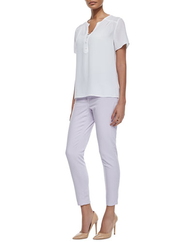 Pop-Over Short-Sleeve Blouse & Clarissa Cropped Skinny Jeans