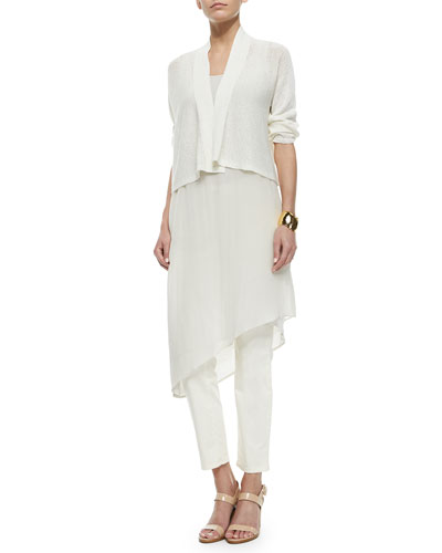 3/4-Sleeve Kimono Cardigan, Sleeveless Asymmetric Knee-Length Dress & Slim Stretch Ankle Jeans, Petite