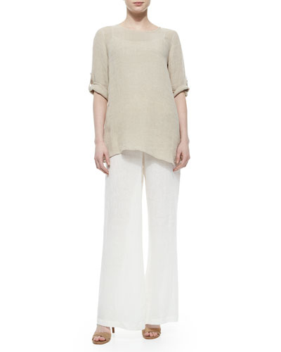 Crinkled Asymmetric Linen Tunic & Wide-Leg Pants, Petite