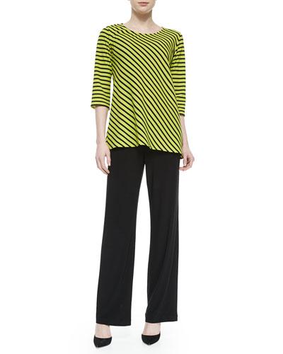 3/4-Sleeve Asymmetric Striped Tunic & Straight-Leg Pants, Petite