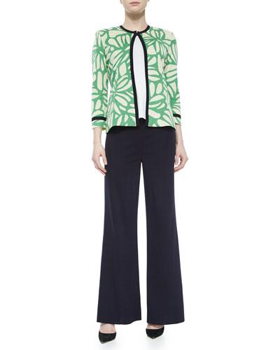 Flower Petal 3/4-Sleeve Jacket, Scoop-Neck Knit Tank & Washable Wide-Leg Pants